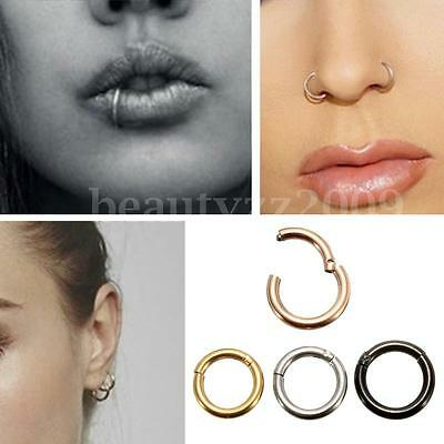 6-10mm 16G Stainless Steel Hinged Clicker Septum Segment Hoop Ring Ear Lip Nose