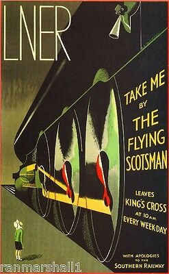Flying Scotsman Great Britain Vintage Travel Advertisement Poster Picture Print
