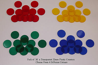 30 x 22mm Plastic Token Board Games Counters - 4 Transparent Colours & Low Price