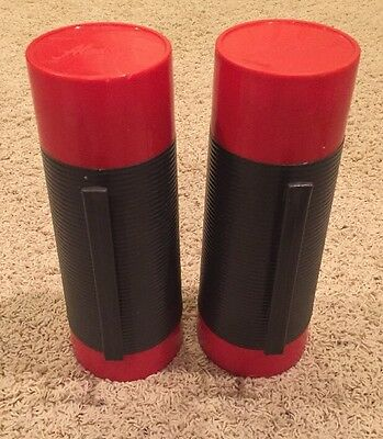 Lot Of 2 Vintage Aladdin Red Grey Dura Clad Vacuum Bottle Thermos 2650 Quart