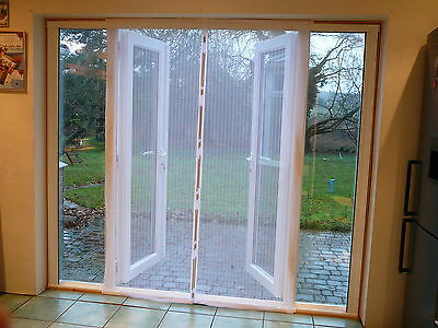 Fly Screen Self Closing Magnetic Patio Door White 120 x 215cm without Top Rod