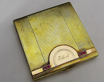 TIFFANY & Co Vintage Sterling 925 Silver 14K Gold Ruby Mirror Ladies Compact