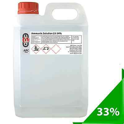 Ammonia 33% Strong 5 Litre (5L)  Ammonium Hydroxide **ADR Courier Delivery**