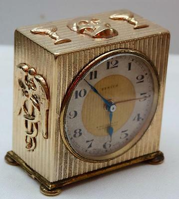 Rare antique Verge Memento Mori Doctor's Skull gold plt. Zenith desk alarm Clock
