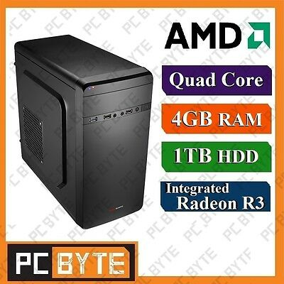 AMD Quad Core 4GB RAM 1TB HDD Redeon R3 Desktop System PC