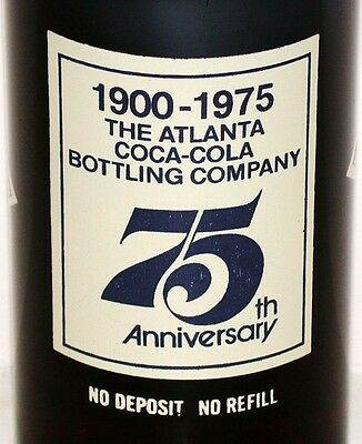 Vintage soda pop bottle COCA COLA 75th Anniversary Atlanta GA full original cap