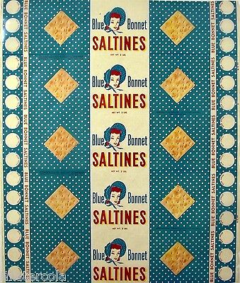 Vintage box wrapper BLUE BONNET SALTINES dated 1957 woman pictured new old stock