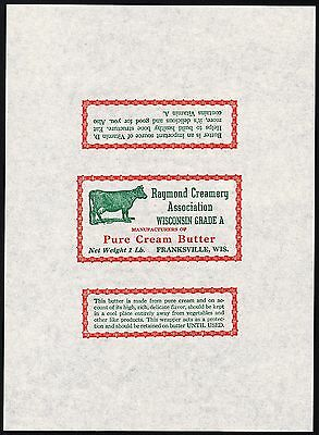 Vintage wrapper RAYMOND CREAMERY Pure Cream Butter cow pic Franksville Wisconsin