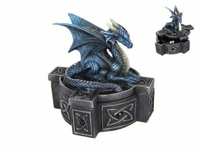 "Anne Stokes ""Blue Dragon on Cross"" Statue Trinket Jewellery Box Gothic"