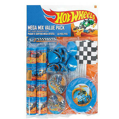 Hot Wheels Wild Racer Mega Mix Party Favor Pack Birthday Decoration - 48 Pieces