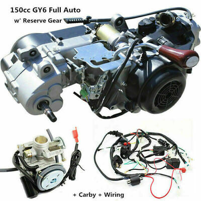 150CC GY6 Fully Auto Reverse Gear Engine + Electric Wire Loom Harness + Carby