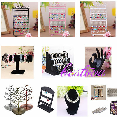 10Types Jewelry Earrings Ring Necklace Watch Display Stand Holder Show Rack AO