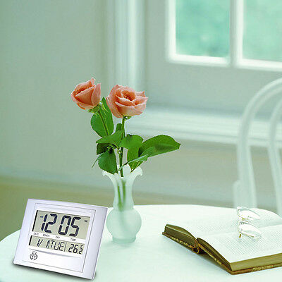 Hot Self Setting Digital LCD Home Office Decor Wall Clock Indoor Temperature @S