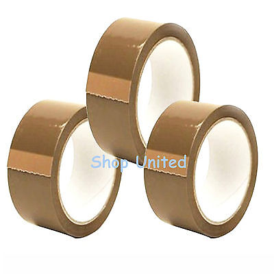 12 BIG Rolls Of BROWN STRONG Parcel Tape Packing sellotape Packaging 48mm x 66m