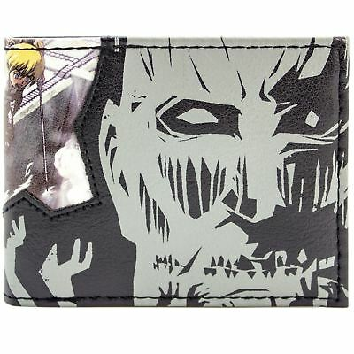 New Official Manga Attack On Titan Eren & Levi Grey Id & Card Bi-Fold Wallet
