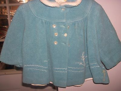 Vintage 6/12 month Toddler Blue Coat with White Flannel Lining, Embroidered Nice