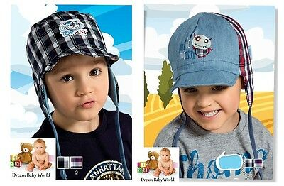 100% Cotton spring summer boys HAT size 9 - 18 months TIE UP Boy