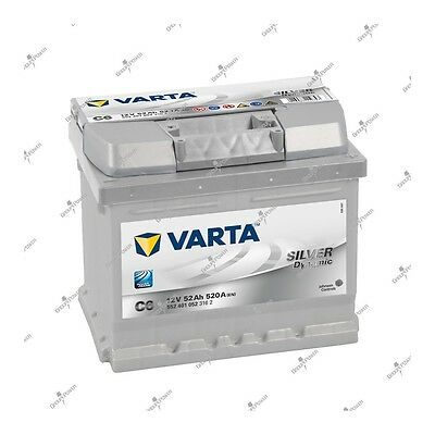 Batterie voiture Silver Dynamic Varta C6 12V 52AH 520A 552401052 207X175X175mm