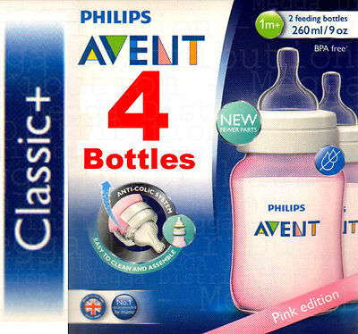 4 x Philips Avent Classic+ 260ml/9oz Baby Bottles in PINK - Anti-Colic+BPA Free