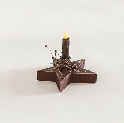 Primitive Country Decorative Lighted Chunky Star with Candle Amish Made USA