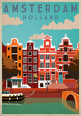 AMSTERDAM HOUSE A3 vintage retro travel & railways posters art print #3