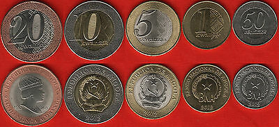 Angola set of 5 coins: 50 centimos - 20 kwanzas 2012-2014 UNC