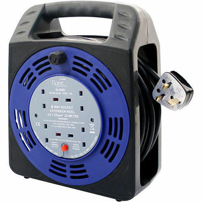 4Way 5/10/25M Cable Extension Reel Lead Mains Socket Heavy Duty 10Amp Electrical