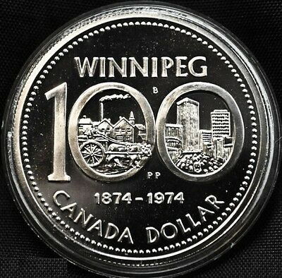 1874 1974 Canada Silver Frosted Proof Dollar Coin Uncirculated Winnipeg 100