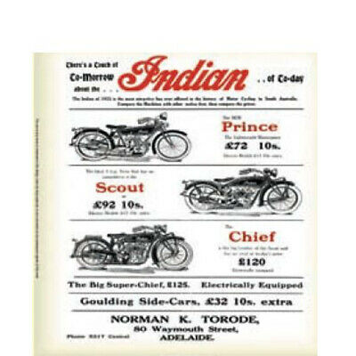Australian Cars & Transport Indian Motorcycles Ad Tin Sign