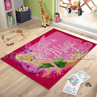 TINKERBELL FAIRY MAGIC PINK KIDS FUN RUG 100x150cm NON-SLIP & WASHABLE **NEW**