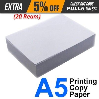 10000 Sheets(20 Ream) A5 80gsm Office Printing Copy Paper 500 Pack Laser Ink-jet
