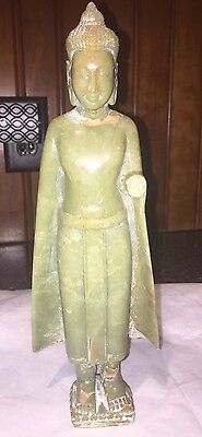 Chinese Solid jade Carved  Buddha statue Antique Very Old Heavy 2+ Lbs