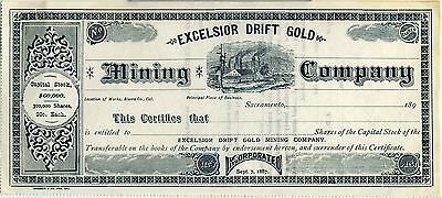 Stock Certificate – Excelsior Drift Gold Mining Co. California Ca. 1890.