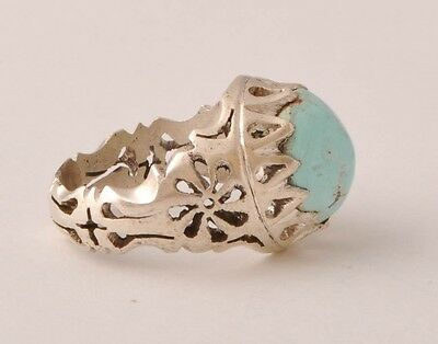 Handmade Persian Naishapur Turquoise sterling Silver Ring-Middle Eastern