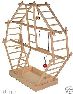 Budgie Canary Bird Wood Playground Inc Swing Ladders Landing Perch Bell Toy