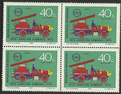 ARGENTINA 1970 FIRE ENGINE 1v BLOCK OF 4 MNH