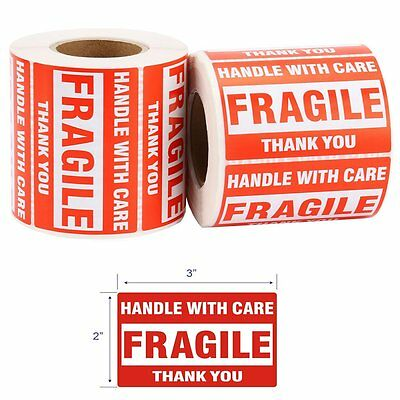 2 Rolls 2x3 Handle with Care 500/Roll Fragile Shipping Labels/Stickers
