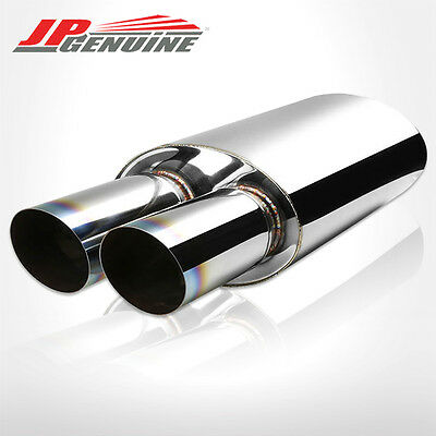"""3"""" Dual Burnt Slant Tip 2.5"""" Inlet Oval Stainless Steel Muffler Fit Universal 2"""