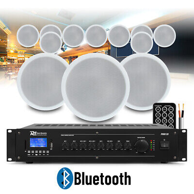 12x Ceiling Speakers Bluetooth Amplifier 100V Line Multizone Church PA System