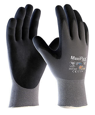 2 x Pairs ATG MaxiFlex Ultimate 42-874 Nitrile Foam Breathable Work Gloves