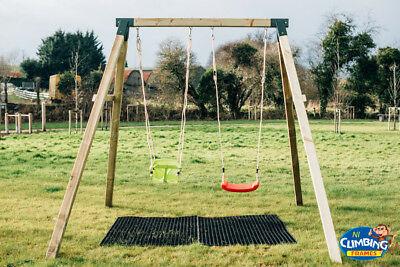 Heavy Duty 100mm Round Wooden Double Swing Set, Pressure Treated, Playground