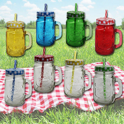 4 or 8 MASON GLASS JARS STRAW CLEAR COLOURED HANDLE COCKTAILS DRINKS JAM JAR