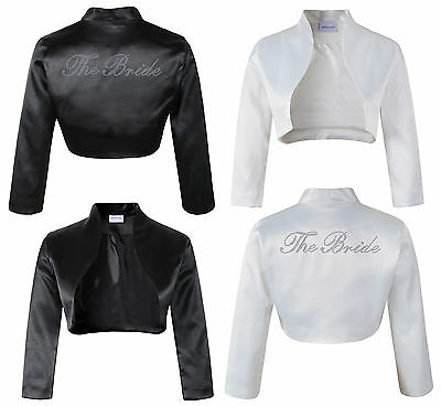 The Bride Bolero Satin Rhinestone Ladies Wedding jacket Personalised Honeymoon