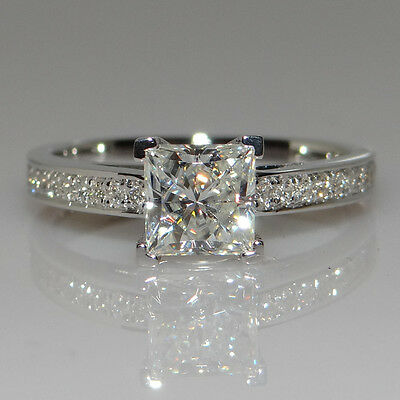 Size I-R Womens Fashion Princess Cut CZ S925 Silver Engagement Wedding Ring Gift