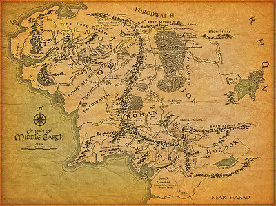 A3 - the Map of World middle earth - Lord of the rings POSTER #28