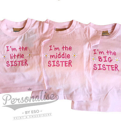 I'm The Little Middle Big Sister T-shirt Girls Baby Pink White Slogan Tee Gift