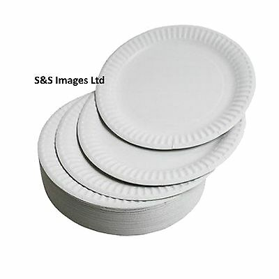 "WHITE ROUND DISPOSABLE PAPER PLATES SIZE 6"" 7"" & 9"" inch Small Large 18cm 23cm"