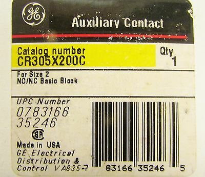 GENERAL ELECTRIC GE Size 2 N.O N.C Basic Auxiliary Contact Block CR305X200C