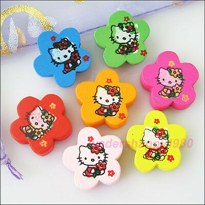 12Pcs New Charms Wooden Lovely Cat Flower Spacer Beads Mixed 19.5mm