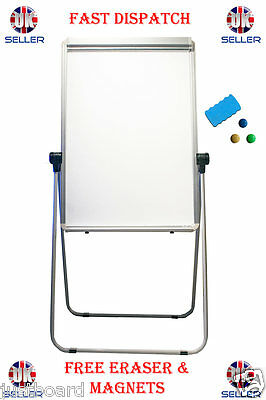 Whiteboard Flipchart Easel Table Magnetic Double sided Revolving 360